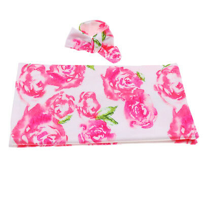 Baby Swaddle Wrap Blanket Sleeping Bag with Headband Set for 0-1 Years Pink