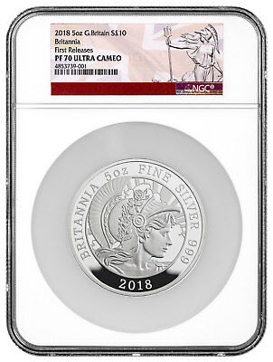 2018 Great Britain 5 oz. Silver Britannia Proof £10 Coin NGC PF70 UC SKU54668