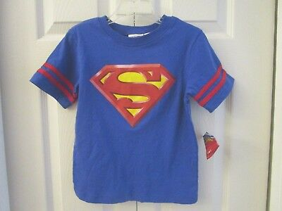 NWT Superman Logo Jersey Shirt T-Shirt Blue Red Toddler 4T or 5T   100% Cotton