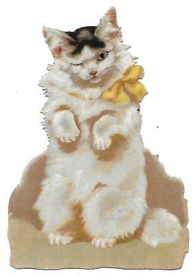 Antique Victorian Diecut Scrap Lovely Cat with Yellow Ribbon 1890s