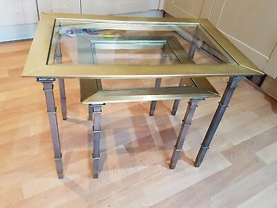 vintage brass glass top side nest of 2 tables