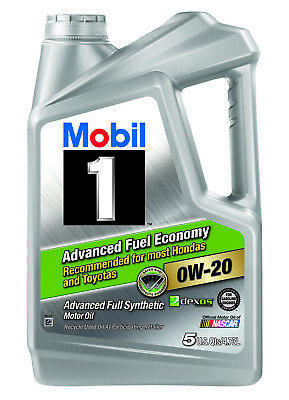 Mobil 1 0W-20 Advanced Fuel Economy Full Synthetic Motor Oil 5 qt Lubricant