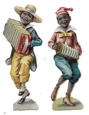 Antique Victorian Diecut Scraps 2 Boys playing accordian and concertina 1880s-90