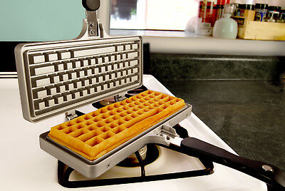 NEW THE KEYBOARD WAFFLE IRON Stove Top Die-Cast Non-Stick Aluminum Belgian Maker
