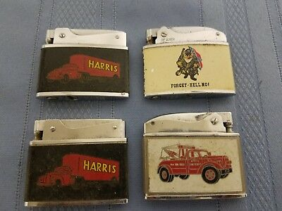Lot of 4 Assorted Advertising Cigarette Lighters  XX
