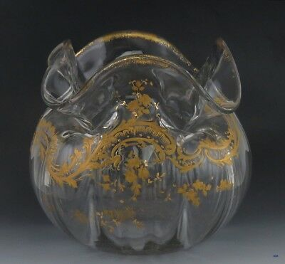 Antique Victorian French Large Hand-Blown Gilt Ruffled Glass Crystal Bowl Vase