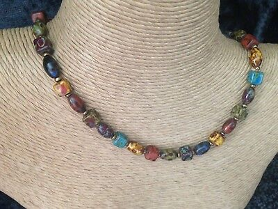 Vintage Glass Scottish Agate Bead Cube Oval Multi Coloured Necklace