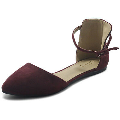 dcf793aea ollio Womens Shoes Faux Suede Ankle Straps D'Orsay Pointed Toe Ballet Flat