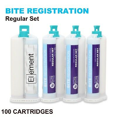 ELEMENT Bite Registration Material REGULAR Set 100x 50ML Cartridges Dental PVS