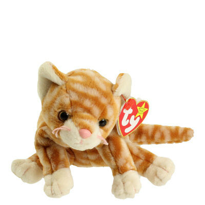 TY Beanie Baby - AMBER the Gold Tabby Cat (7.5 inch) - MWMTs Stuffed Animal Toy