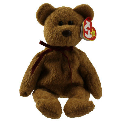 TY Beanie Baby - CURLY the Brown Nappy Bear (9 inch) - MWMTs Stuffed Animal Toy