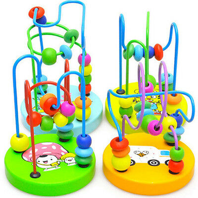 AU_ Baby Toddler Kids Educational Wooden Beads Around Intelligence Game Toy Gift