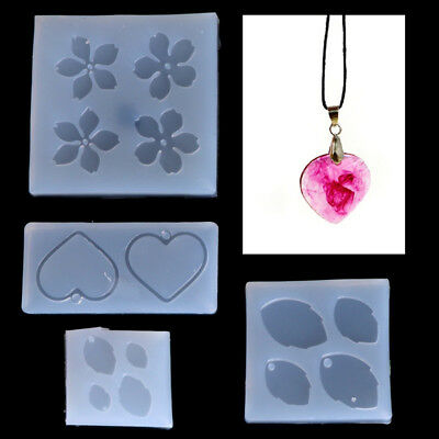 AU_ Jewelry Mold Flower Leaves Heart Shape Making Pendant Silicone Resin Craft G
