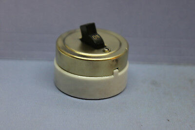 Vintage Arrow-H&H Brass/Porcelain Round Single-Pole Toggle Light Switch - TESTED