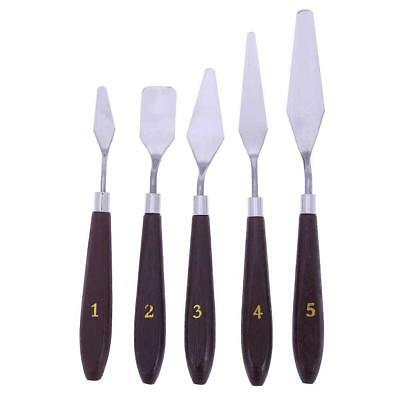5pcs Stainless Steel Palette Knife Scraper Spatula Set for Oil Painting NEW