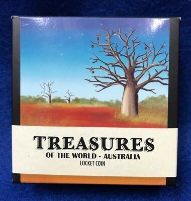 2014 $1 Treasures of the World Australia 1oz Silver Proof Locket Coin GOLD