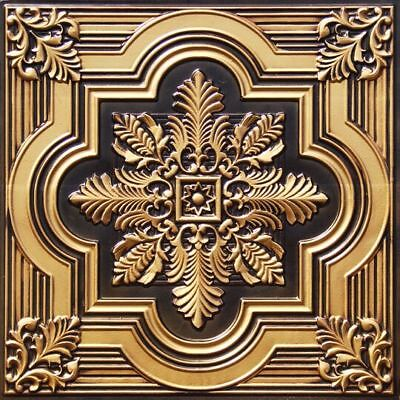 #206 Antique Brass Faux Tin Decorative Ceiling Tiles (Lot of 12) Glue Up / Grid
