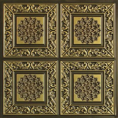 #203 Antique Brass Faux Tin Decorative Ceiling Tiles (Lot of 12) Glue Up / Grid
