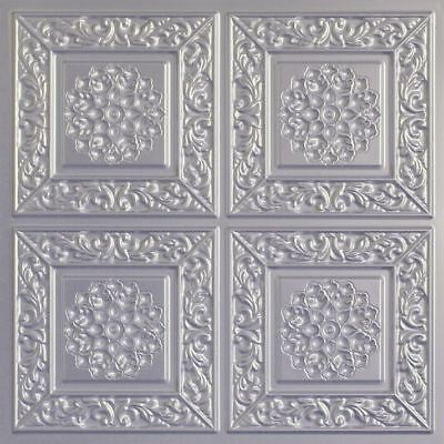 #205 Antique Brass Faux Tin Decorative Ceiling Tiles (Lot of 12) Glue Up / Grid