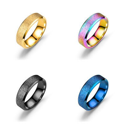 Stainless Steel Frosted Women Men Wedding Fashion Jewelry Engagement Band Ring