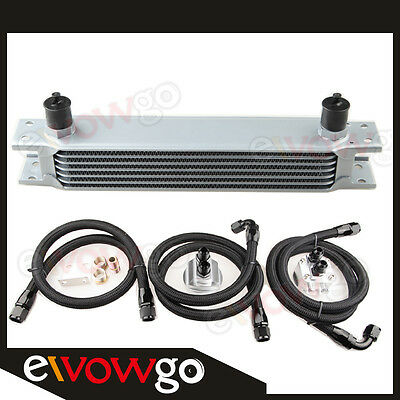 7-ROW ALUMINUM ENGINE OIL COOLER+RELOCATION KIT+3x Nylon Cover Braided LINES