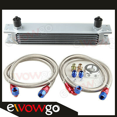 7-Row Aluminum Engine Oil Cooler+Relocation Kit+2 X Ss Braided Lines
