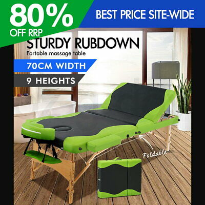 Zenses Wooden Portable Massage Table 3 Fold Beauty Therapy Bed Waxing Green
