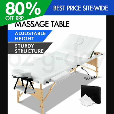 Zenses Wooden Portable Massage Table 3 Fold Beauty Therapy Bed Waxing WHITE
