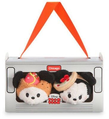 "NIB ~ Disney CHICAGO Tsum Tsum Box Set Mickey & Minnie Mini 3½"" Plush BRAND NEW"
