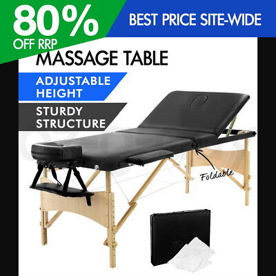 Zenses Wooden Portable Massage Table 3 Fold Beauty Therapy Bed Waxing BLACK