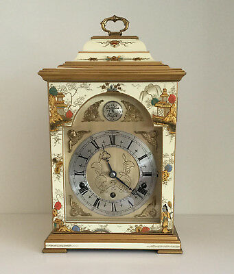 Cream Chinoiserie Three Train Bracket Clock by Elliott, London