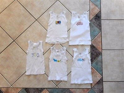 5 baby boys singlets Size 1 - 2 White w Free Kisses Animals Easily Rattled