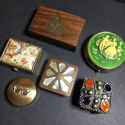 6 Pill Boxes Shell Brass Wooden Plastic Round Square Trinkets Small