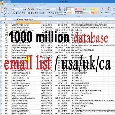 1000 MILLION Database Email Marketing List (new active) & Free Sending Method +