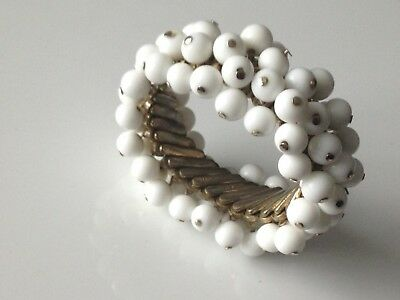 Vintage Bergere Japanese Cha Cha White Expandable Bracelet Bangle