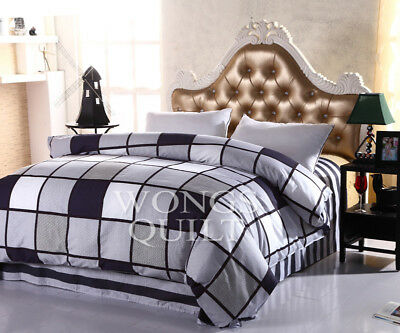 Checked Quilt Duvet Doona Cover Set Single/Double/Queen/King Size Cotton Bed New
