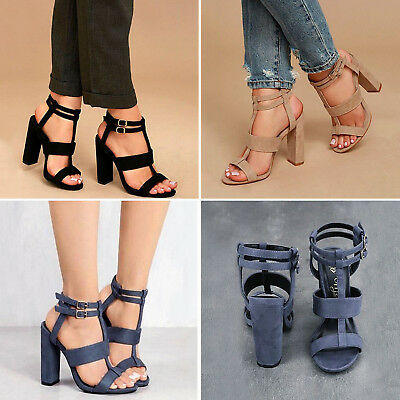 Ladies High Heels Shoes Open Toe Ankle Sandals Strap Buckle Summer Beach Pump