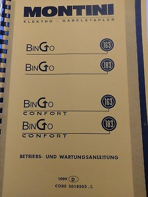 Spare Parts Book Incl. Wartungsbuch Montini Bingo 163 183 Forklift