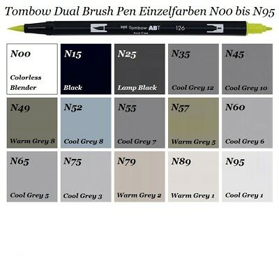 Tombow Dual Brush Pen ABT-Stifte Einzelfarben N00 - N95