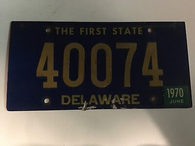 1970 Delaware License Plate 5-Digit Riveted Numbers some scrapes at bottom edge