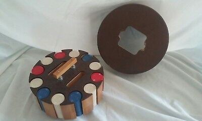 Vintage Pla-Wood Poker Chip Caddy. Comes with chips and top. Spins