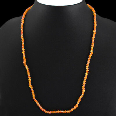 47.05 Cts Natural Untreated Orange Carnelian Round Shape Faceted Beads Necklace