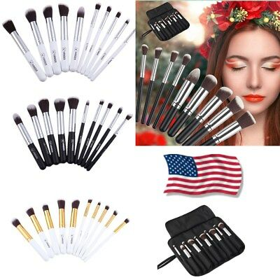 10Pc Makeup Brushes Tool Set Lip Eyeshadow Face Cosmetic Powder Foundation Brush