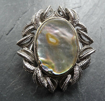 vintage abalone shell abstract flower scarf ring clip c. 1970s -A441