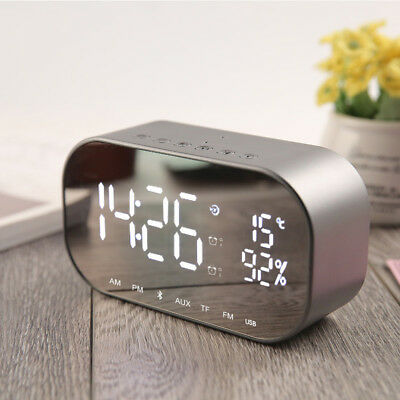 Wireless Bluetooth Speaker MP3 Digital FM Radio Mirror LED Alarm Clock AUX IN