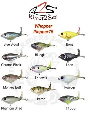 NEW SIZE - River2Sea Whopper Plopper 75 Topwater Bait - Choose Lure Color