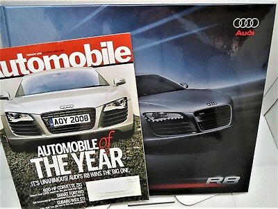 Audi R8 Hardcover Book/Brochure Printed 2007, MINT + Car of the Year issue