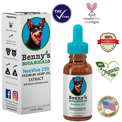 Hemp Oil for Dogs and Cats - 250mg - Supports Anxiety, Aging and Joints in Pets