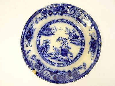 Antique Flow Blue White Improved Stone China Asian Japanese Dinner Plate Dish