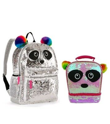 "Panda 2-Way Sequins Critter 16"" Backpack & Lunch box Bag New School Book Totes"